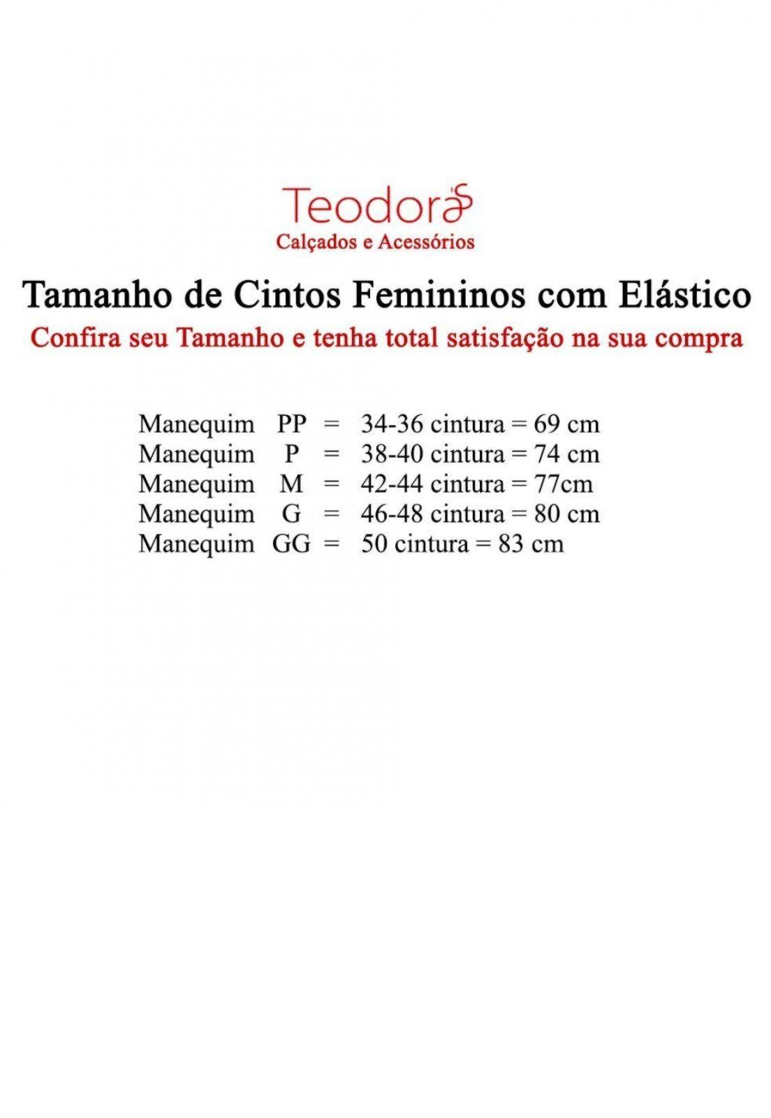 Cinto Teodora's Lais Elástico e Couro C105B Bege