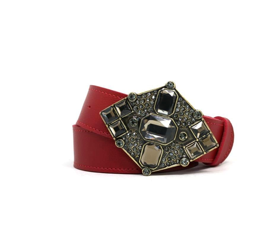 Cinto Teodora's Plus Size Sintético Pedras Vermelho