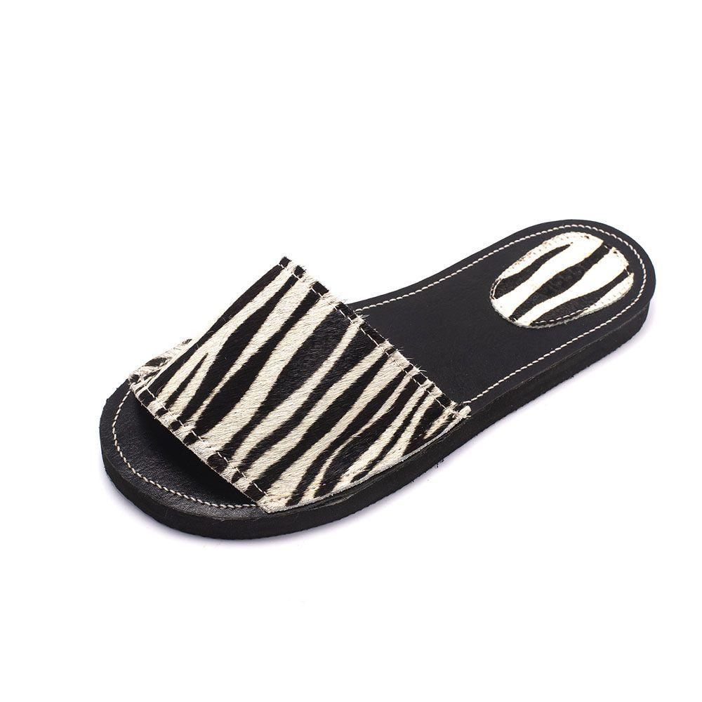 Rasteira Teodora's de Couro A1912 Zebra