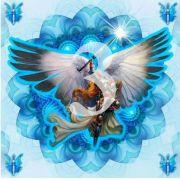 Mandala Arcanjo Miguel Azul Claro Em Veludo + Presente