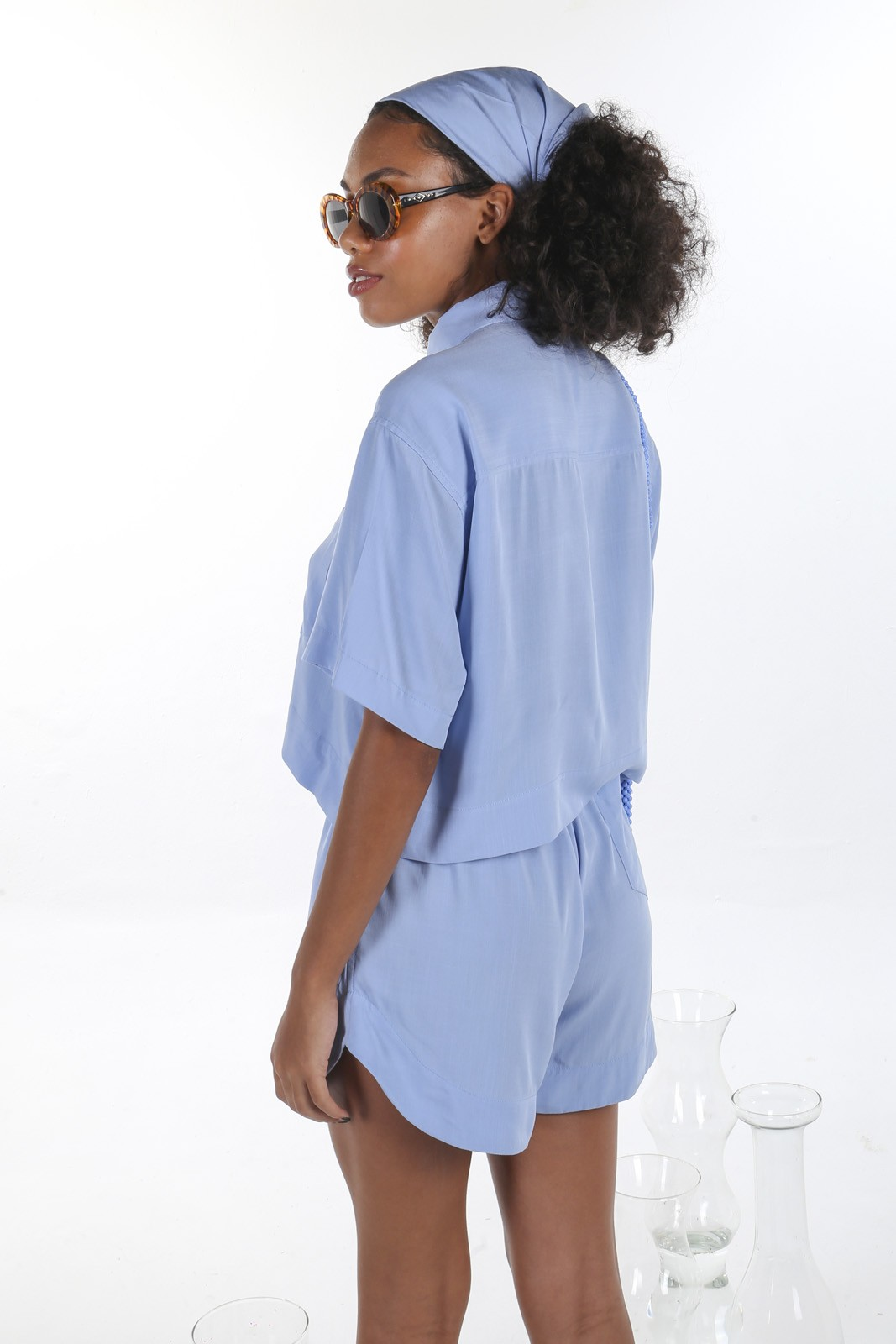 Camisa Cropped Azul