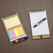 Bloco de anotações com mini caneta e autoadesivo personalizado (MINIMO 30 PEÇAS)