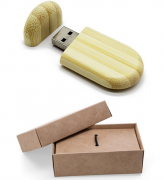 Kit pen drive ecológico oval + embalagem de kraft (MINIMO 5 PEÇAS)