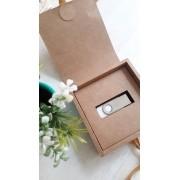 Kit pen drive giratório + caixinha offset branco ou kraft personalizados (MINIMO 5 PEÇAS)