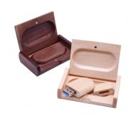 Kit pen drive madeira oval + caixinha de madeira personalizados (MINIMO 1 PEÇA)