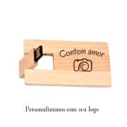 Pen card bambu ecológico personalizado dos 2 lados (MINIMO 5 PEÇAS)