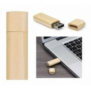 Pen drive de bambu laterais arredondadas personalizado (MINIMO 5 PEÇAS)