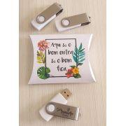 Kit pen drive + caixa almofada personalizados (MINIMO 5 PEÇAS)