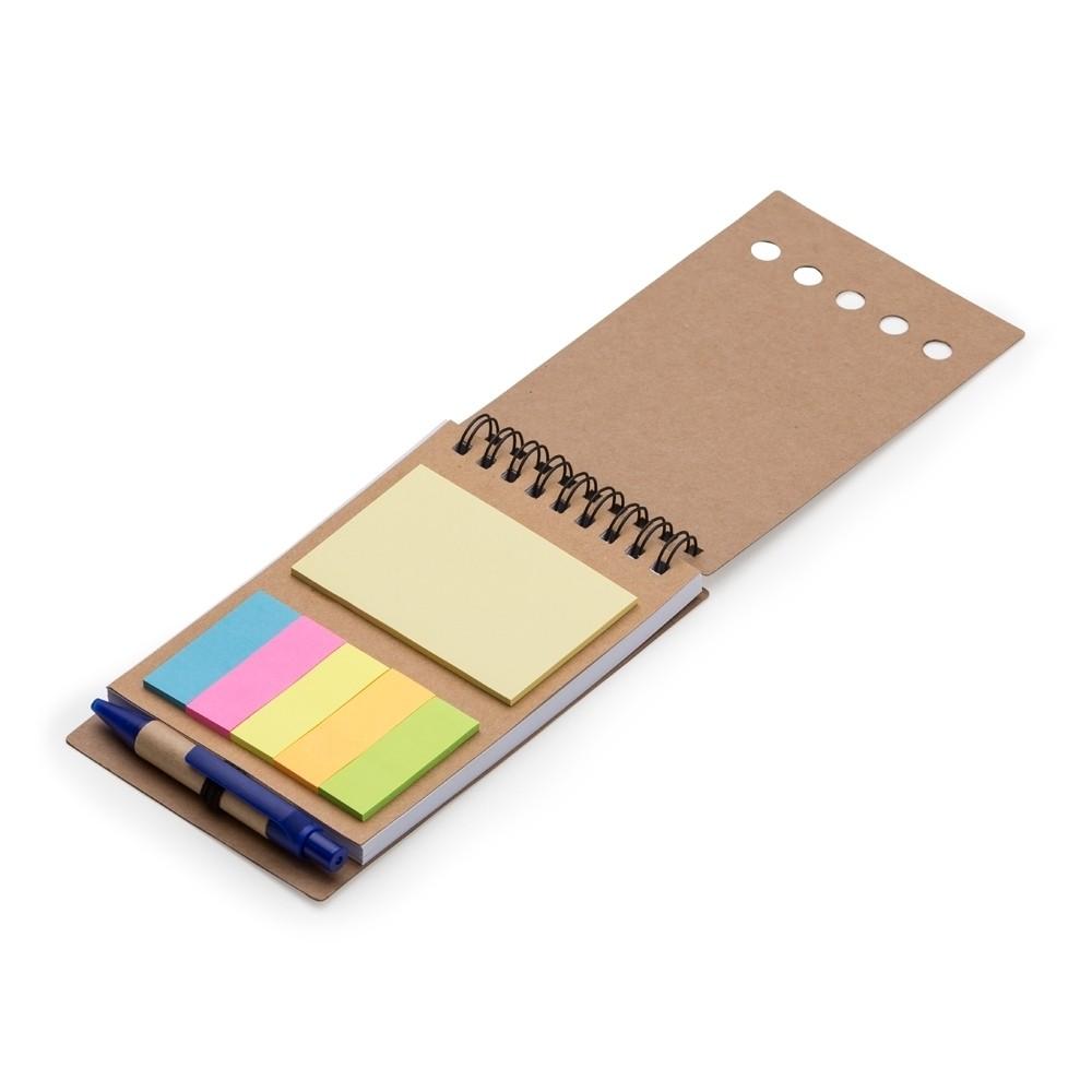 Bloco de anotações com mini caneta e autoadesivo personalizado (MINIMO 30 PEÇAS)  - Premiere Brindes