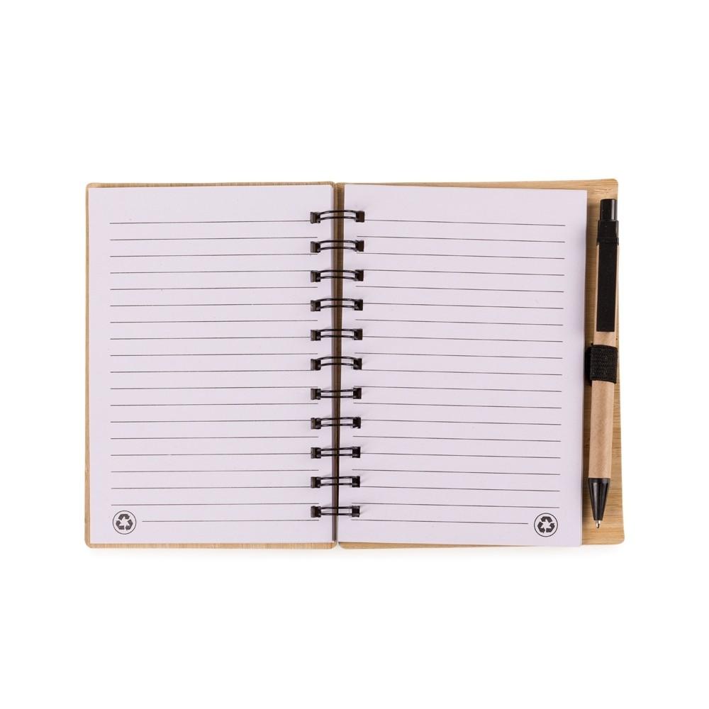 Bloco de anotações de bambu com caneta personalizado (MINIMO 30 PEÇAS)  - Premiere Brindes