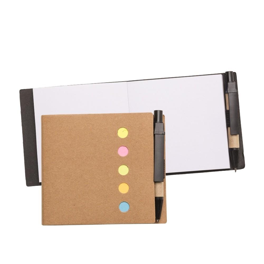 Bloco ecológico com mini caneta e autoadesivos personalizado (MINIMO 30 PEÇAS)  - Premiere Brindes