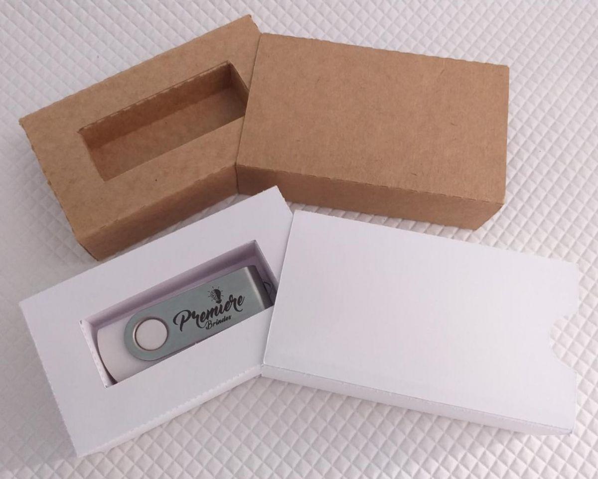 Kit pen drive giratório + caixinha de kraft pardo ou branco personalizados (MINIMO 5 PEÇAS)  - Premiere Brindes