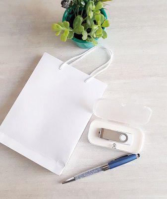 Kit pen drive giratório + case plástica + sacola 17x12,5 cm  kraft ou offset (MINIMO 10 PEÇAS)  - Premiere Brindes