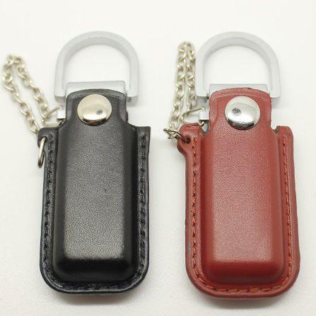 Pen drive de couro de bolsinha com metal personalizado (MINIMO 10 PEÇAS)  - Premiere Brindes