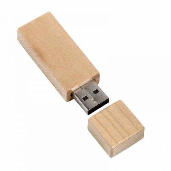 Pen drive retangular pequeno de bambu personalizado (MINIMO 5 PEÇAS)  - Premiere Brindes