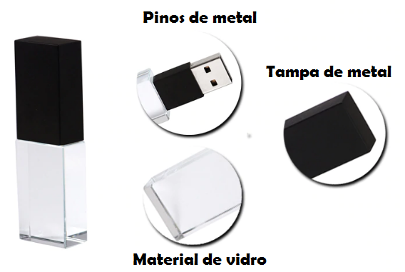 Pen Drive Vidro personalizado (MINIMO 5 PEÇAS)  - Premiere Brindes