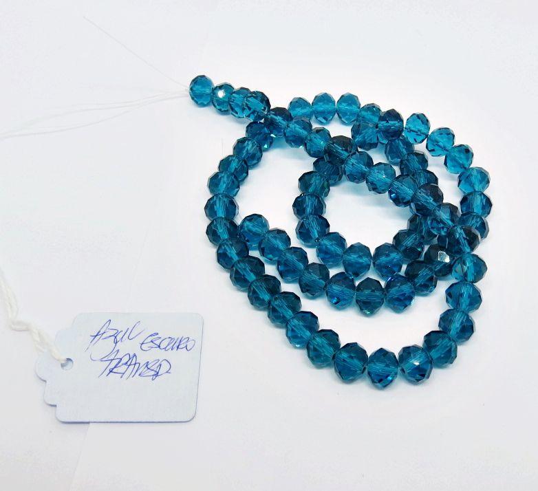 Azul Escuro Transparente Achatado (08 mm)