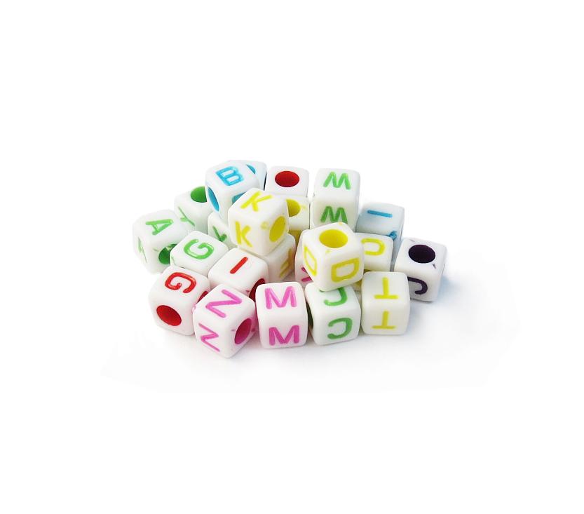 002 Letrinhas - Branco/Colorido (Cubo) 250g