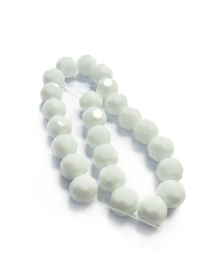 Branco Leitoso Redondo (14 mm)
