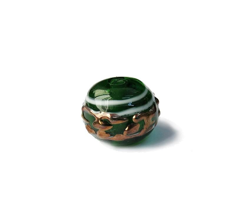 Especial Firma 025 - Esfera Verde Escuro Transparente/Branco/Cobre (G)
