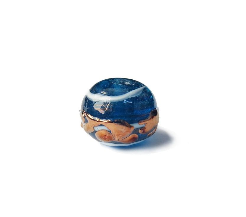 Especial Firma 026 - Esfera Azul Transparente/Branco/Cobre (G)