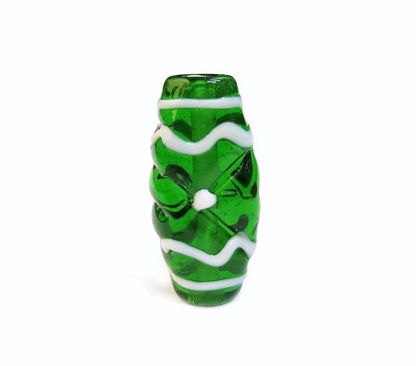 Especial Firma 184 - Murano Achatado Verde Transparente/Branco