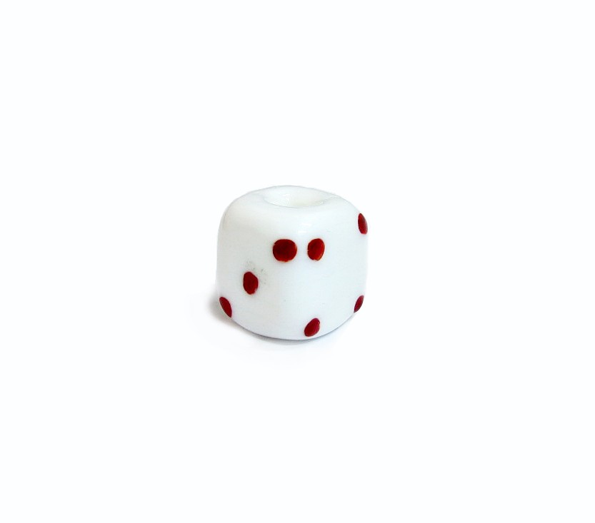 Firma 016 - Murano Dado Branco/Vermelho (G)