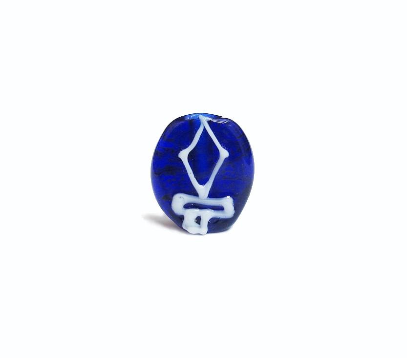 Firma 033 - Murano Circular Azul Royal Transparente/Espada Branca