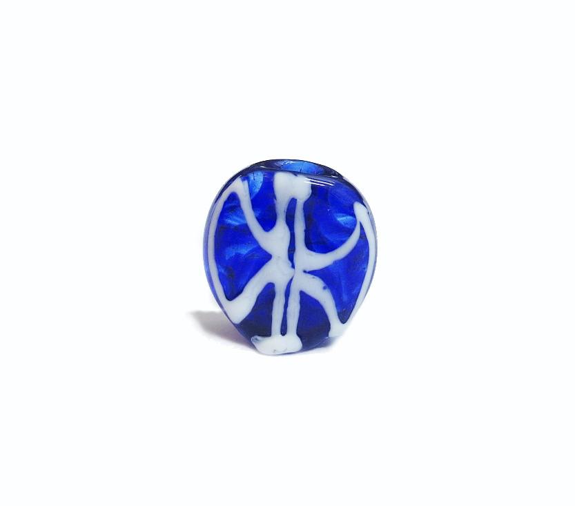 Firma 036 - Murano Circular Azul Royal Transparente/Oxê Branco