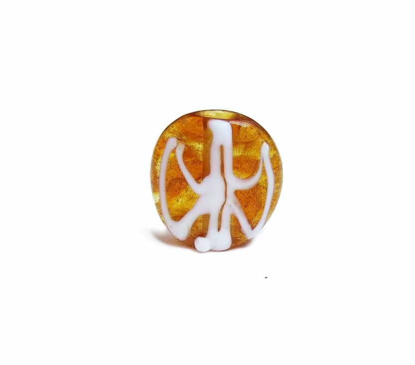 Firma 038 - Murano Circular Caramelo Transparente/Oxê Branco