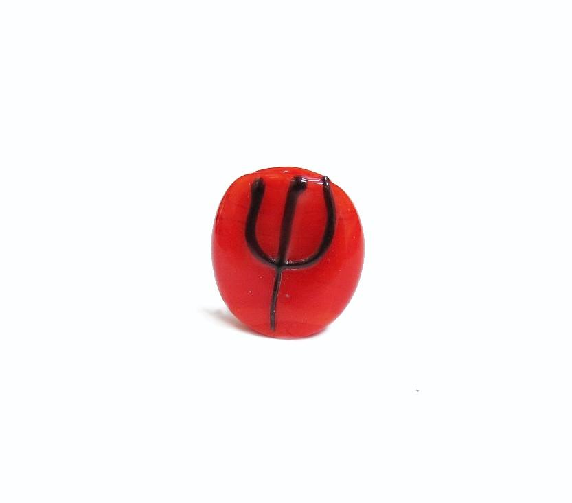 Firma 040 - Murano Circular Vermelho/Tridente Preto Pomba Gira