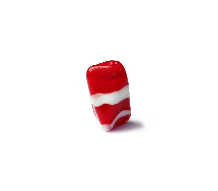 Firma 042 - Murano Facetado Vermelho/Branco (G)