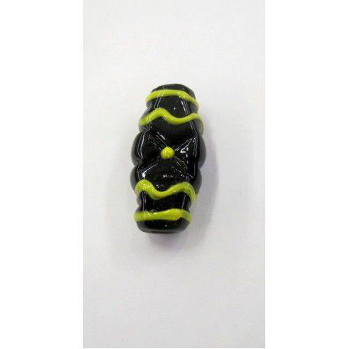 Firma murano achatado preto com amarelo