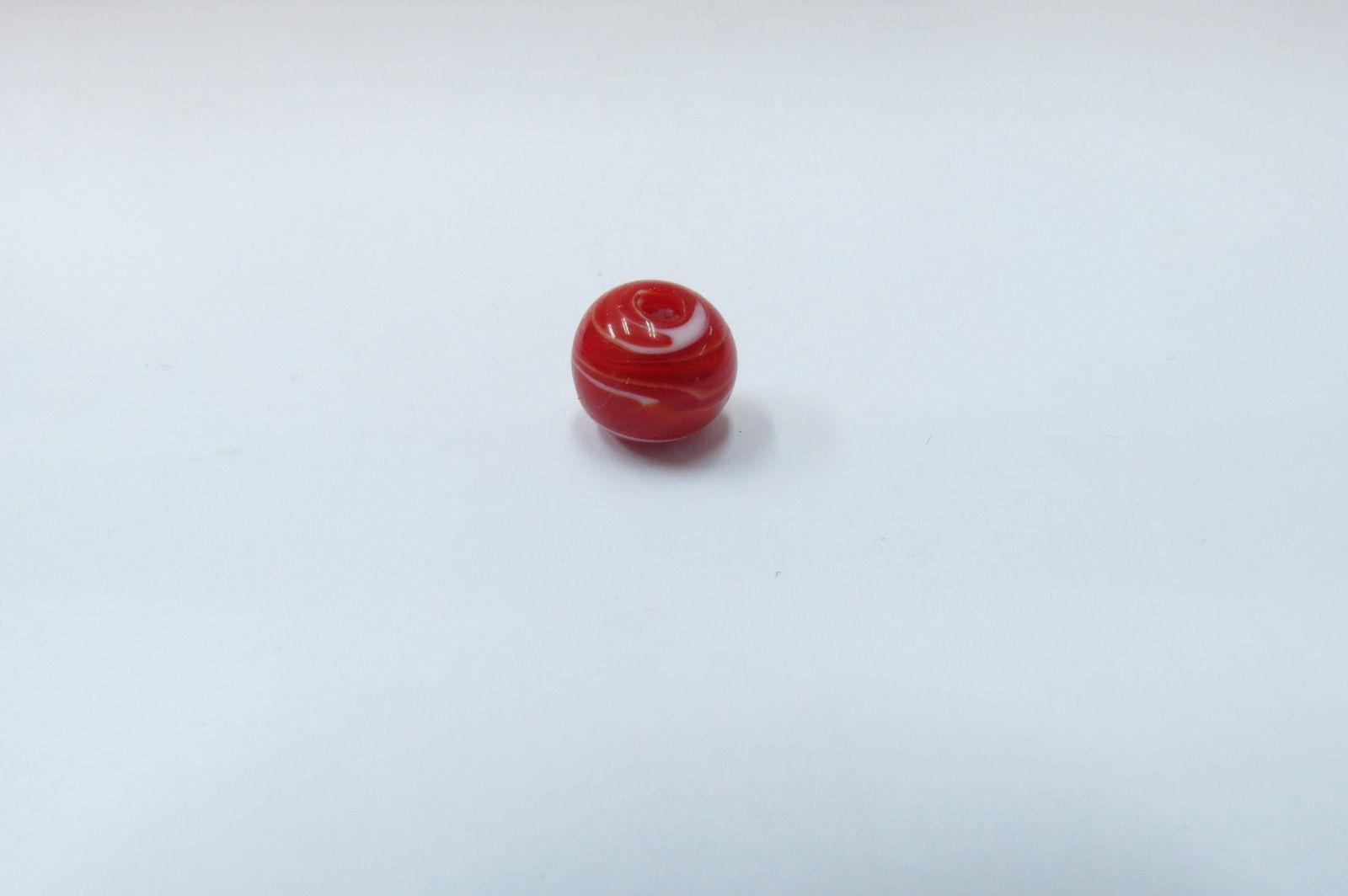 Murano esfera vermelho e branco - P