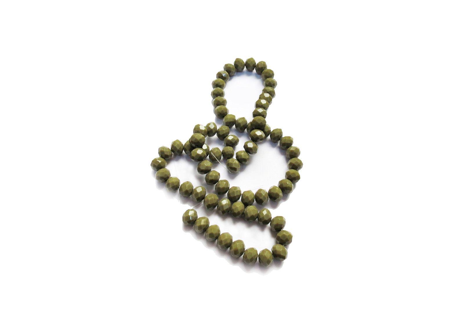 Verde Olívia Leitoso Achatado (10 mm)