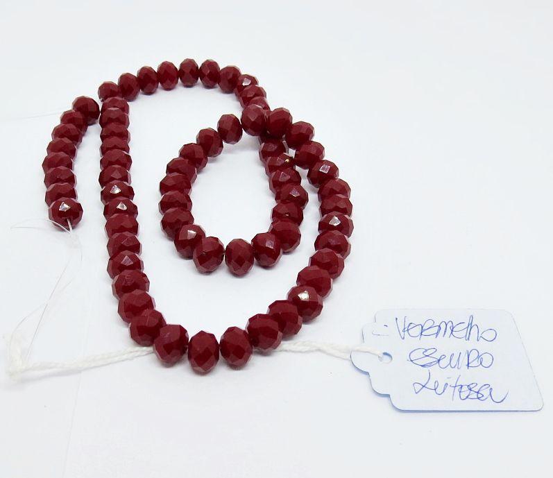 Vermelho Escuro Leitoso Achatado (08 mm)