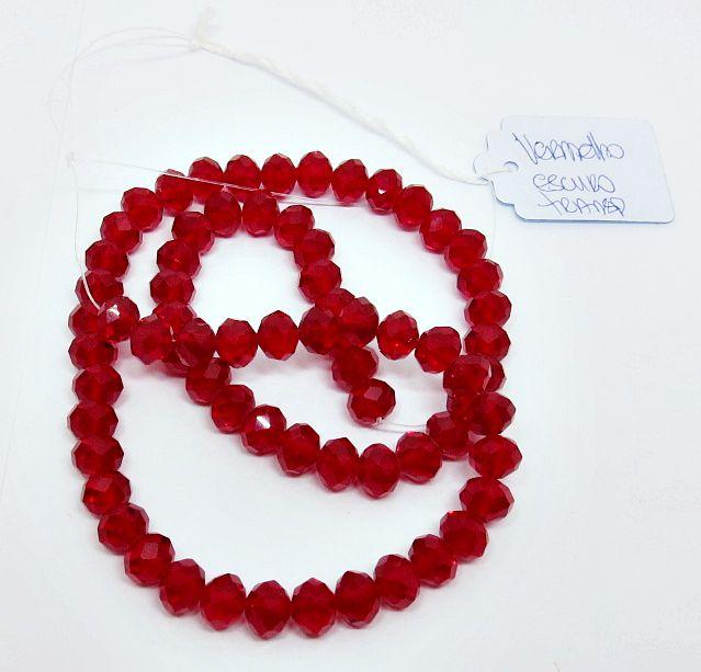 Vermelho Escuro Transparente Achatado (08 mm)