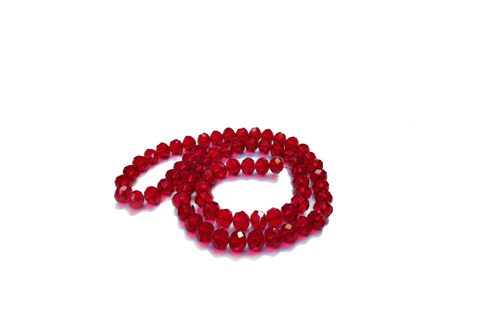 Vermelho Escuro Transparente Achatado (10 mm)