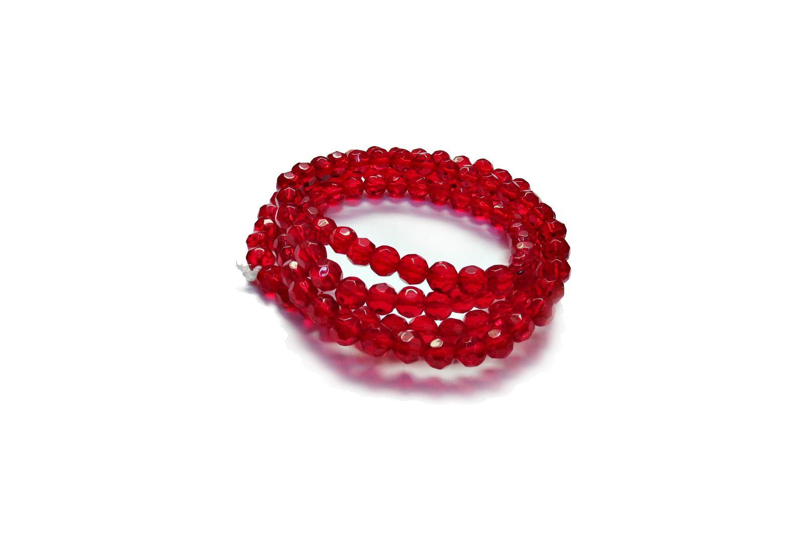 Vermelho Escuro Transparente Redondo (08 mm)