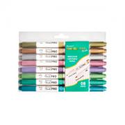 Brush Pen Metalic Pro Bismark Ponta Dupla Com 8 Cores