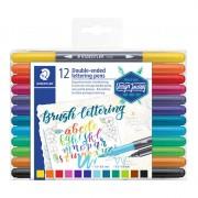 Brush Pen Staedtler Ponta Dupla C/ 12