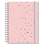 Caderno Colegial Corações Holográficos Rosa 200fls