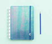 Caderno Inteligente Azul Holográfico Médio   Laranja Lima Presentes