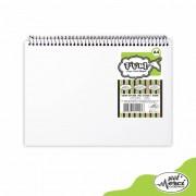 Caderno Sem Pauta Para Desenho Capa Branca Folhas Pretas 180g Merci