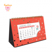 Calendario de Mesa Coracoes Dourados