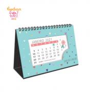 Calendario de Mesa Coracoes Holograficos