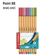 Caneta Stabilo Point 88 Cores Novas com 8