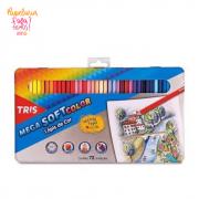 Lapis de Cor 72 Cores TRIS Mega Soft Color Estojo de Metal