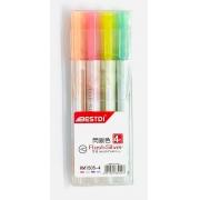 Marca Texto Gel Glitter Com 4 Cores