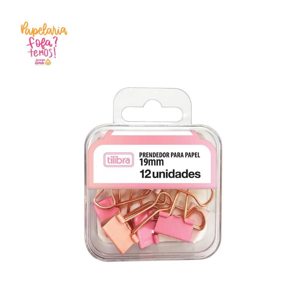 Binder Clips 19mm Rosa Pastel Tilibra 12Un